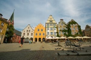 OLSZTYN, POLAND - AUGUST 21, 2015: Medieval houses of Olsztyn in center of Olsztyn old town