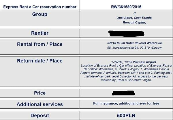 אישור הזמנת רכב עם פרטי מקום קבלה והחזרה